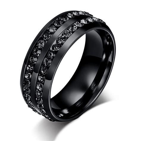 Po Stainlees Steel Ring Cincin Pria 2 2015 mode baru pria cincin crystyal hitam stainless