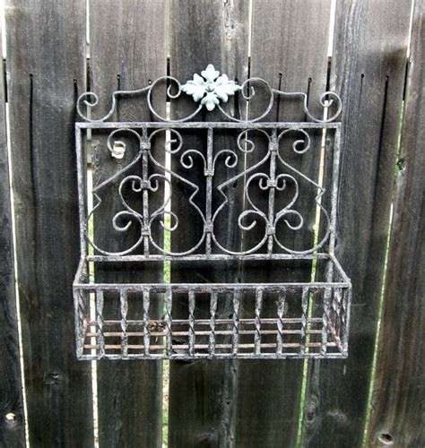 wrought iron wall mount flower garden planter by