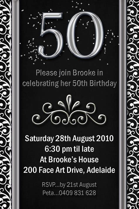 free 50th birthday invitations templates exle 50th birthday invitations flower patern silver
