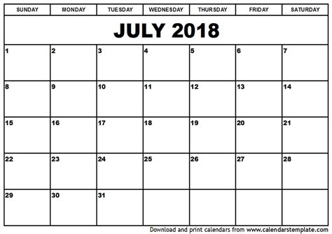 2018 Monthly Calendar With Holidays July 2018 Calendar With Holidays Monthly Calendar Template