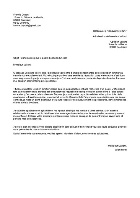 Lettre De Motivation Visa Travail exemple de lettre de motivation opticien staffsant