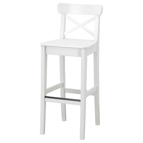 Ingolf Bar Stool With Backrest White ingolf bar stool with backrest white 74 cm ikea