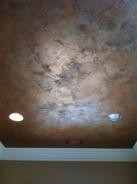 faux painting ideas knock down textured finish with metallic waxes on ceiling