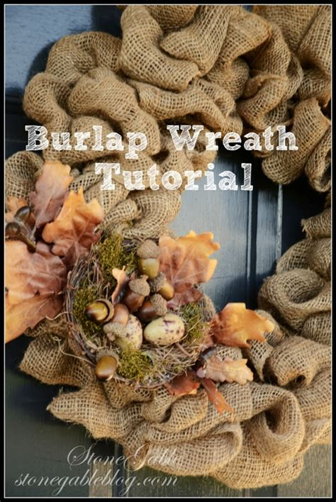 burlap wreath tutorial stonegable four fab fall wreath diy s stonegable