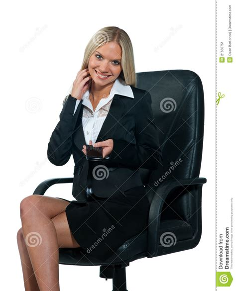 business woman sitting  office chair stock image image  phone blond