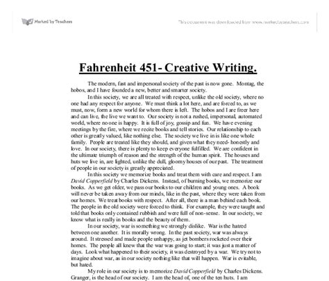 Fahrenheit 451 Essay by Research Paper On Fahrenheit 451