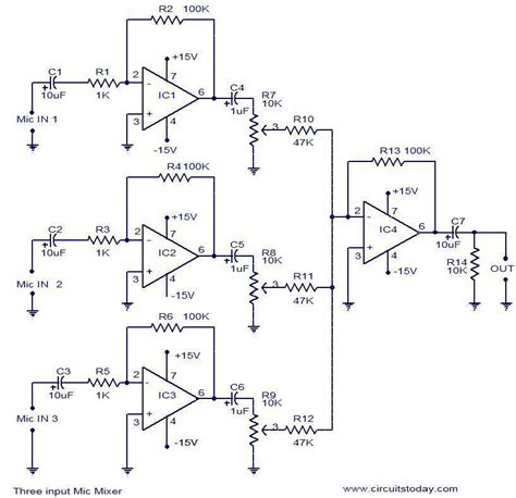 Pcb Mixer Audio 3 input mic mixer circuit electronic circuits and