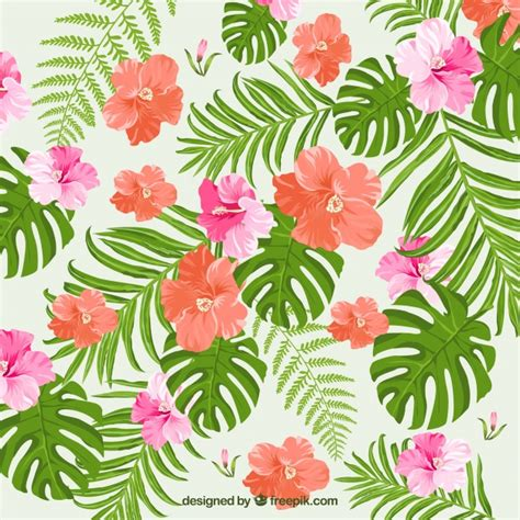 tropical flower background background of tropical flowers and watercolor leaves