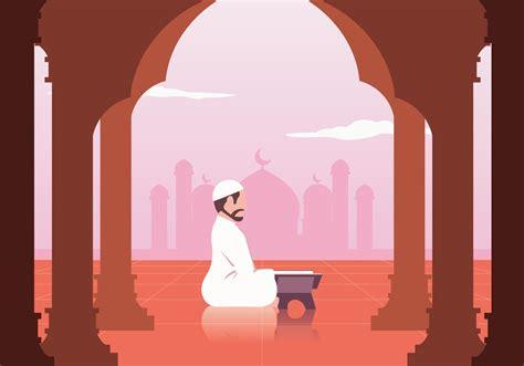 muslim reading al quran vector   vectors