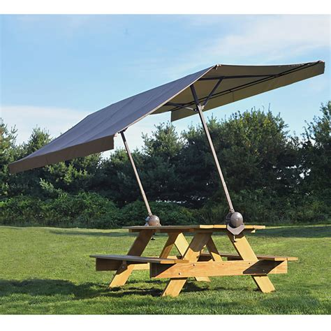 awning umbrella portable clamp on picnic table canopy provides 75 sq ft of