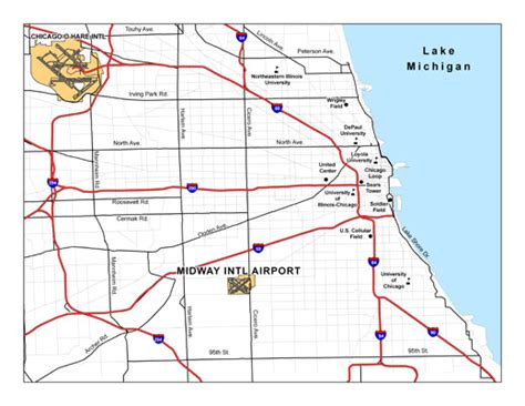 chicago map airports chicago midway international airport