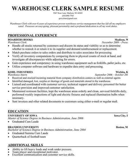 Sle Resume For Warehouse Employee resume sle for warehouse worker 28 images sle