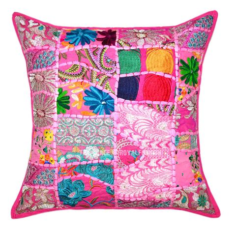Pink Patchwork Throw - pink multi one of a patch embroidered cotton pillow