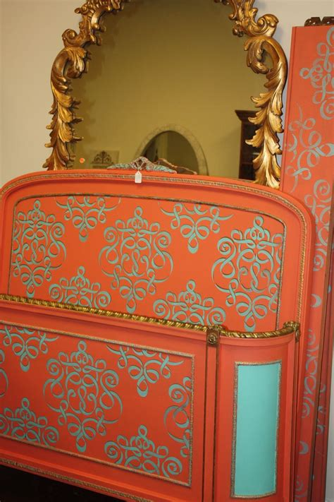 this is a beautiful antique bed painted in gogh chalk paint collection by candice pujol
