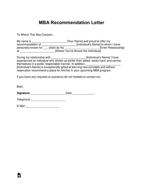mba recommendation letter free mba letter of recommendation template with sles