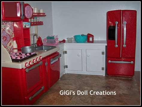 custom made american girl doll house gigi s doll and craft creations american girl doll kitchen and custom cabinet tutorial