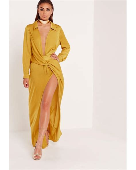 missguided wrap front shirt maxi dress chartreuse in multicolor lime lyst