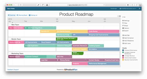 roadmap planning tool product roadmap template