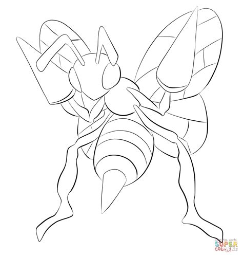 pokemon coloring pages mega beedrill beedrill coloring page free printable coloring pages