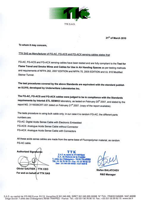 ul certification letter certifications ttk leak detection