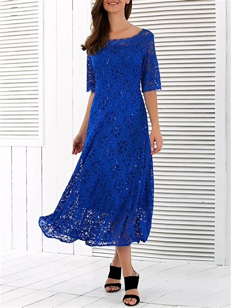 boat neck dress frock boat neck embroidery short sleeve lace dress in blue 2xl