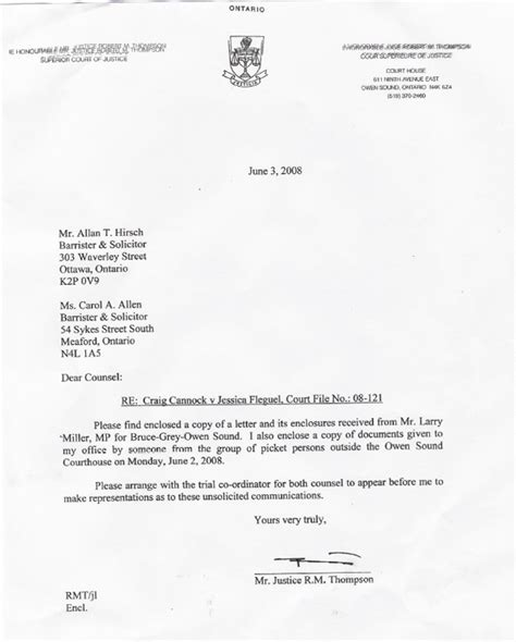 Child Support Letter To Judge Larry Miller Mp Lobby Letter To Judge Superior Court Owen Sound