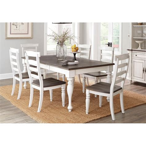 french country white  tone  piece dining set bourbon
