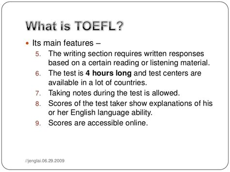 toefl test 01 introduction to toefl test