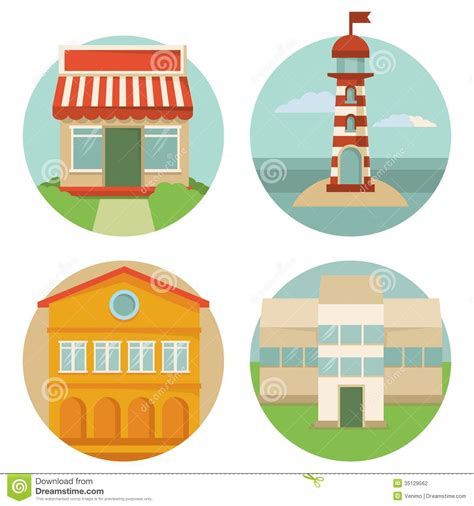 Lighthouse House Plans Vector Building Icons Stock Photography Image 35129562