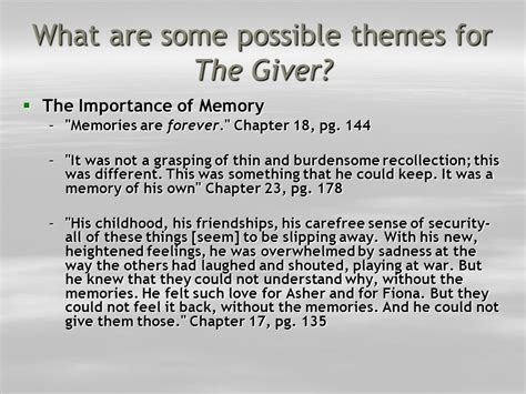 themes in book the giver the giver a look at themes ppt video online download