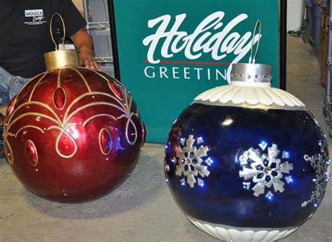 commercial giant holiday christmas balls with mosca design