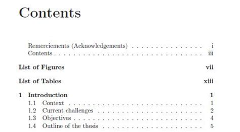 latex tutorial table of contents contents and remerciements acknowledgements in the table