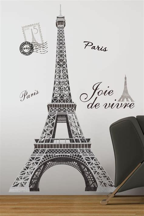 cute teenage girls room decor with eiffel tower theme eiffel tower big 56 quot wall stickers mural paris room decor