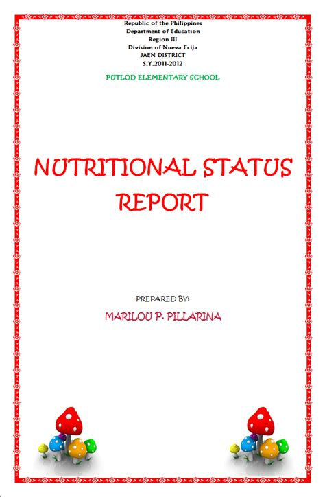 report front page template infinity nutritional status report front page sle