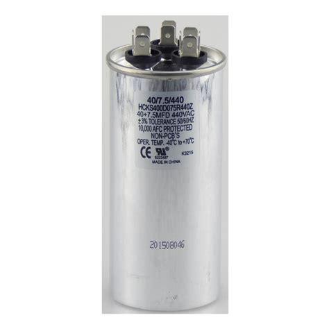 motor run capacitor 40 mfd tradepro 440 volt 40 7 5 mfd dual motor run capacitor tpr4075440 the home depot