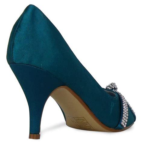 teal shoes heels l3a teal satin peeptoe diamante womens low heel