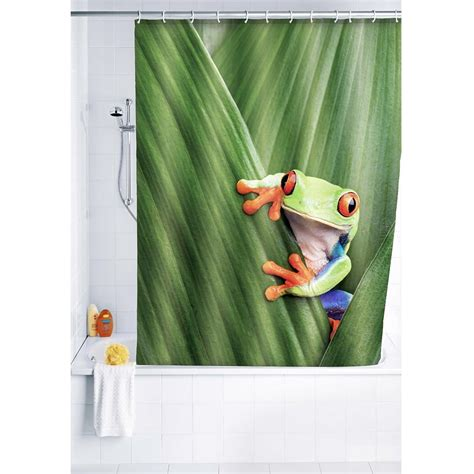 frog shower curtain fabric wenko frog polyester shower curtain w1800 x h2000mm