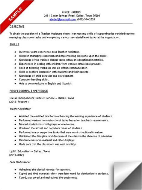 Resume Sles For Special Education Teachers Assistants Best 25 Assistant Ideas On Assistant Resume Templates For