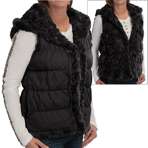 Lust List Shearling Puffer Vest by Silky Puffer Hooded Faux Fur Vest For Save 63