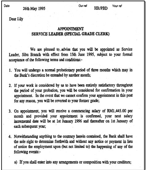 appointment letter jurisdiction appointment letter dated 30 may 1995 as stl where does