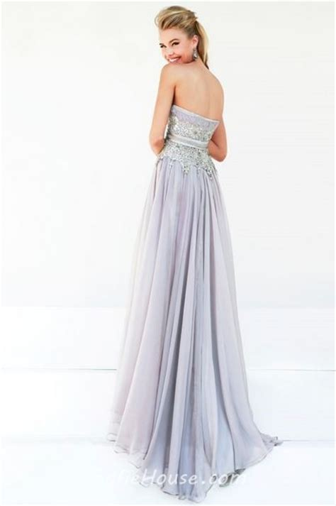 draped evening dress a line strapless long grey chiffon draped beading evening