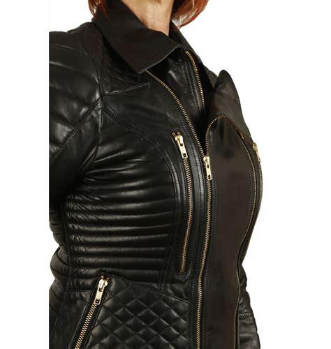 ladies black leather biker ladies designer style quilted black leather biker jacket