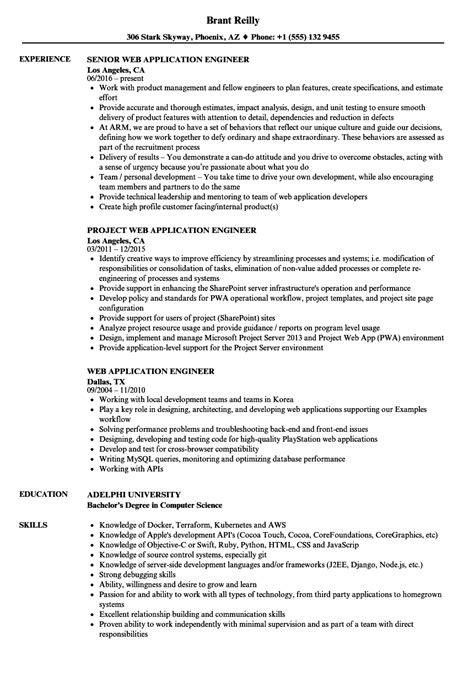 resume format for application engineer web application engineer resume sles velvet