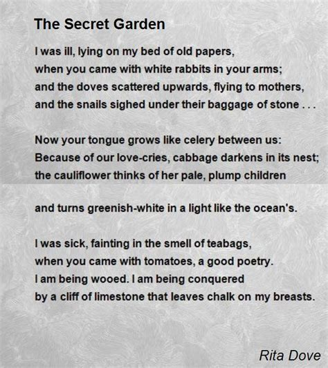 Who Wrote The Secret Garden by The Secret Garden Poem By Dove Poem