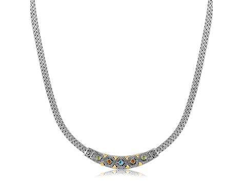 pattern of gold necklace diamond pattern and multi stone accented wheat bar