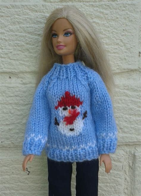 pattern clothes doll barbie snowman sweater knitting pattern on ravelry