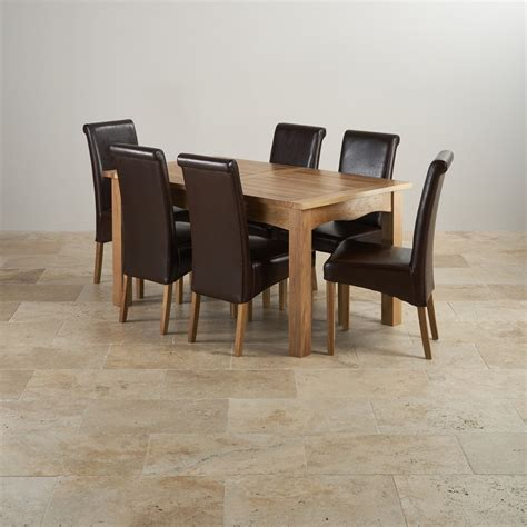 Cairo Extending Dining Set In Oak Table 6 Leather Chairs Solid Oak Extending Dining Table And 6 Chairs