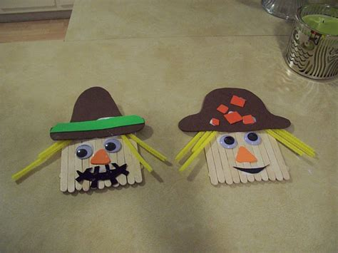easy craft stick projects popsicle stick scarecrow easy crafts to try with
