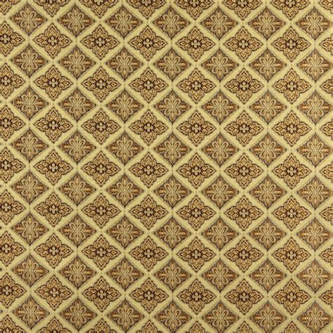 Traditional Upholstery Gold Brown And Ivory Embroidered Brocade