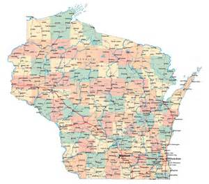 large administrative map of wisconsin state with roads